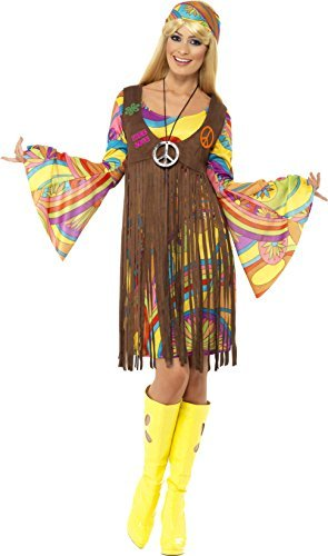 1960s Groovy Lady, Brown, with Dress, Printed Waistcoat and Headband -  (Size: UK Dress 12-14)