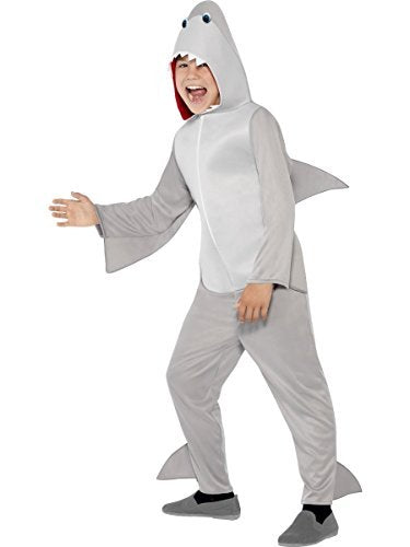 Shark Costume, Grey, All In One with Hood & Fins -  (Size: Small Age 4-6)