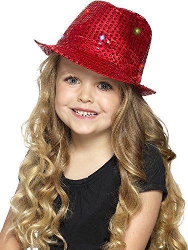 Light Up Sequin Trilby Hat, Red, with Multi-Function LED Lights