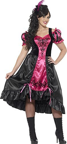 Curves Sassy Saloon Costume, Pink, with Dress & Feather Hairclip -  (Size: UK Dress 24-26)