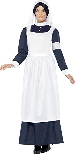 Great War Nurse Costume, White, with Dress & Headpiece -  (Size: UK Dress 16-18)