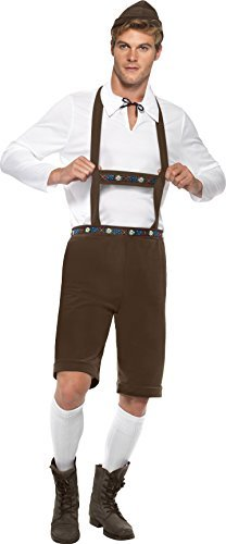 "Bavarian Man Costume, Brown, with Lederhosen Shorts, Braces, Top & Hat -  (Size: Chest 38""-40"", Leg Inseam 32.75"")"