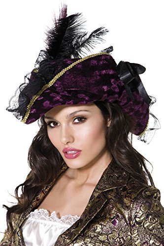 Fever Marauding Pirate Hat, Purple, with Feathers and Ribbon