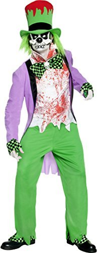 "Bad Hatter Costume, Purple, Top, Trousers, Hat, Shirt, Mask, Shoe Covers & Gloves -  (Size: Chest 38""-40"", Leg Inseam 32.75"")"
