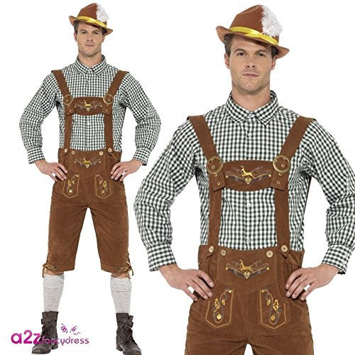 "Traditional Deluxe Hanz Bavarian Costume, Green, with Lederhosen & Shirt -  (Size: Chest 42""-44"", Leg Inseam 33"")"