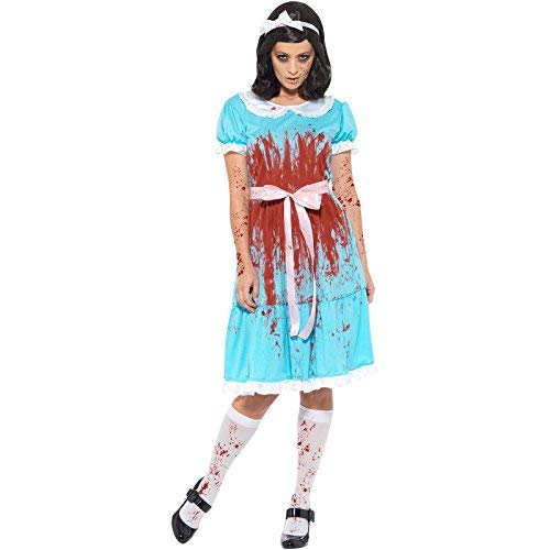 Bloody Murderous Twin Costume, Blue, with Dress, Socks & Headband -  (Size: UK Dress 16-18)