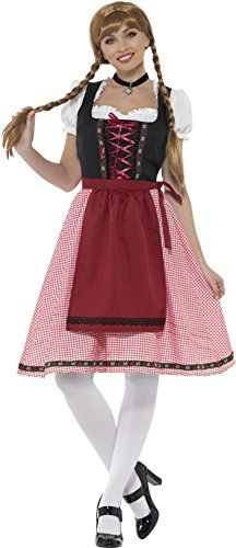 Bavarian Tavern Maid Costume, Red & Black, with Top, Dress & Apron -  (Size: Bust 34.5-35.5` / Waist 26.5-27.5` / Hip 37-38` / Leg Inseam 32.5`)