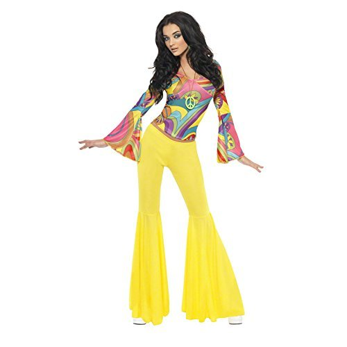 70s Groovy Babe Costume, Yellow, with Top and Flared Trousers -  (Size: UK Dress 12-14)