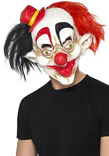 Creepy Clown Mask, Black & Red, Latex, Full Overhead