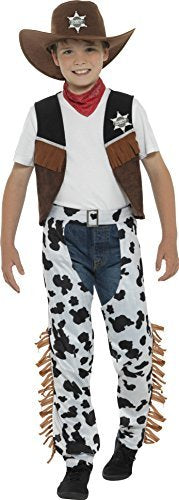 Texan Cowboy Costume, Brown, with Hat, Neck Tie, Waistcoat, Badge & Chaps -  (Size: Small Age 4-6)