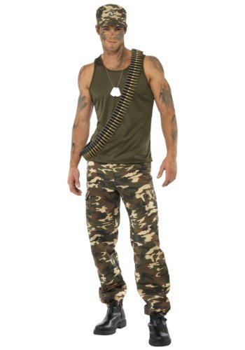 "Khaki Camo Deluxe Costume, Male, Khaki Green, includes Vest and Trousers -  (Size: Chest 42""-44"", Leg Inseam 33"")"