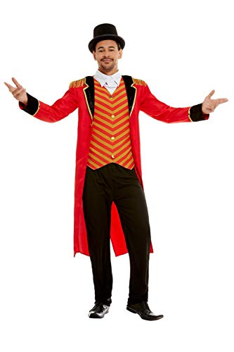 - Deluxe Ringmaster Costume, Red, with Jacket, Mock Shirt & Trousers -  (Size: Chest 38`-40`, Leg Inseam 32.75`) COST-M