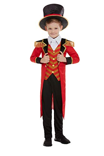 - Deluxe Ringmaster Costume, Red, with Jacket, Mock Shirt, Trousers & Hat -  (Size: Large Age 10-12) COST-M