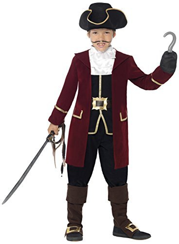 Deluxe Pirate Captain Costume, Black, Jacket, Mock Waistcoat, Trousers, Neck Scarf & Hat -  (Size: Small Age 4-6)