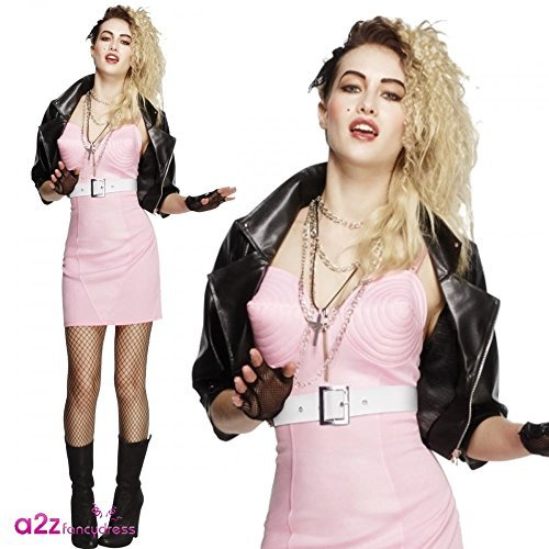 Fever 80s Rocker Diva Costume, Pink, with Dress, Jacket, Belt, Necklace and Headband -  (Size: UK Dress 12-14)