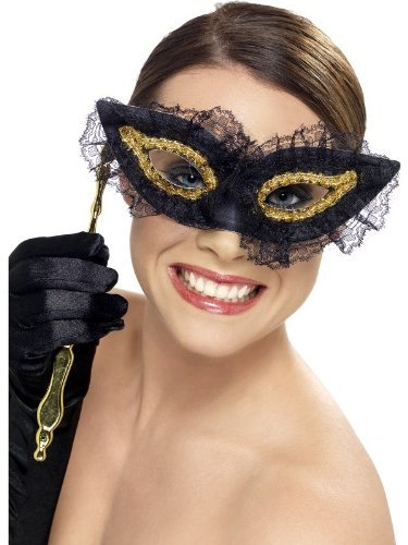 Fastidious Eyemask, Black, on Stick with Lace Trim