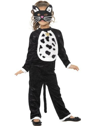 Cat Costume, Black, with Bodysuit, Bell & Mask -  (Size: Medium Age 7-9)
