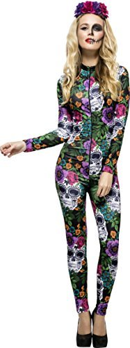 Fever Day of the Dead Costume, Multi-Coloured, with Catsuit & Rose Headband -  (Size: UK Dress 16-18)