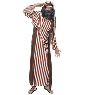 "Shepherd Costume, Brown, with Robe & Headpiece -  (Size: Chest 38""-40"", Leg Inseam 32.75"")"