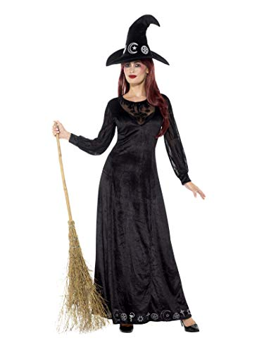 Deluxe Witch Craft Costume, Black, with Dress & Hat -  (Size: UK Dress 12-14)