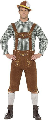 "Traditional Deluxe Hanz Bavarian Costume, Green, with Lederhosen & Shirt -  (Size: Chest 38""-40"", Leg Inseam 32.75"")"