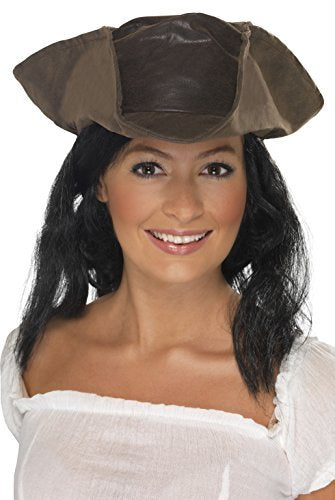 Leather Look Pirate Hat, Brown, with Black Hair