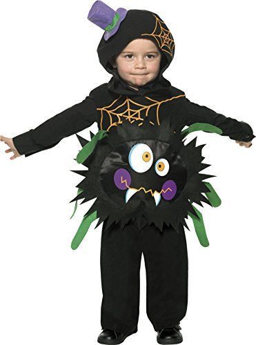 Crazy Spider Costume, Black, with Tabard & Hood -  (Size: Toddler Age 1-2)