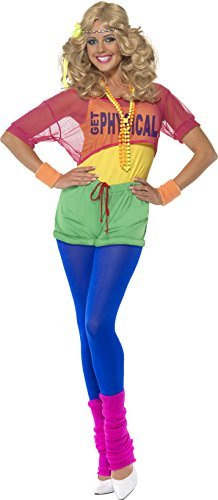 Let's Get Physical Girl Costume, Multi-Coloured, with Leotard, Crop Top, Shorts and Headband -  (Size: UK Dress 12-14)