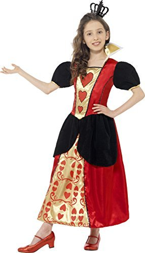 Miss Hearts Costume, Red, with Dress & 3D Felt Crown -  (Size: Medium Age 7-9)