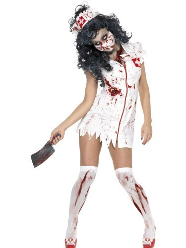 Zombie Nurse Costume, White, with Dress, Mask & Headpiece -  (Size: UK Dress 8-10)