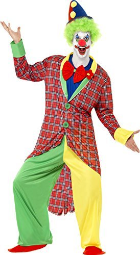 La Circus Deluxe Clown Costume, Multi-Coloured, Jacket, Trousers, Mock Shirt Bow Tie & Shoe Covers -  (Size: Chest 42`-44`, Leg Inseam 33`)