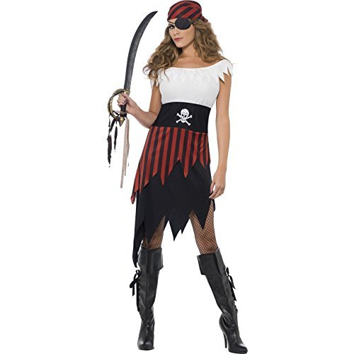 Pirate Wench Costume, Black, with Dress & Headpiece -  (Size: UK Dress 16-18)