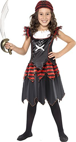 Pirate Skull & Crossbones Girl Costume, Black, with Dress & Headscarf -  (Size: Small Age 4-6)