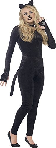 Cat Costume, Black, with Jumpsuit, Tail, Cat Ear Headband & Collar -  (Size: Teen XS)