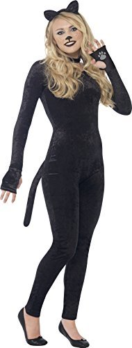 Cat Costume, Black, with Jumpsuit, Tail, Cat Ear Headband & Collar -  (Size: Teen S)