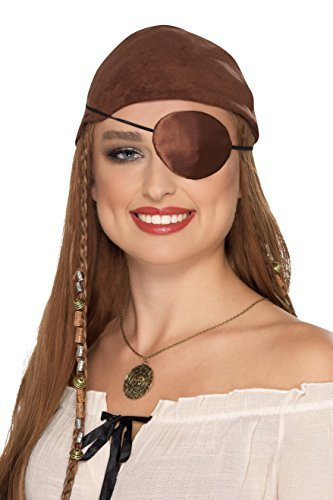 `Deluxe Pirate Eyepatch, Brown, Satin`