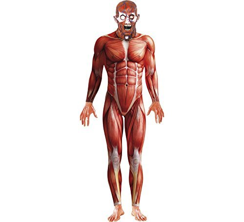 "Anatomy Man Costume, Red, with Bodysuit & Mask -  (Size: Chest 42""-44"", Leg Inseam 33"")"