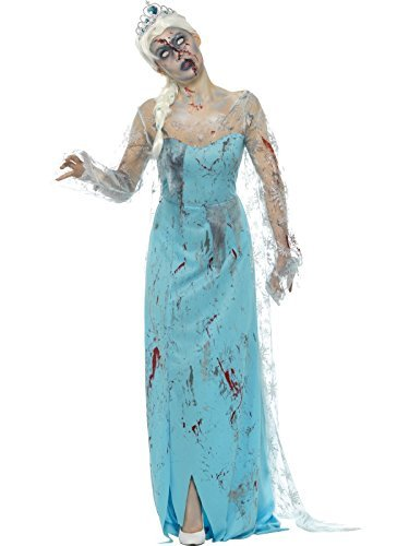 Zombie Froze to Death Costume, Blue, with Dress, Attached Latex Ribs & Tiara -  (Size: UK Dress 8-10)