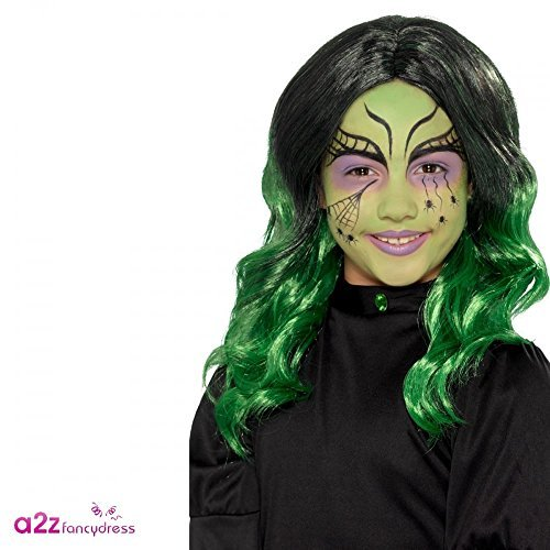 - Kids Witch Wig, Black & Green