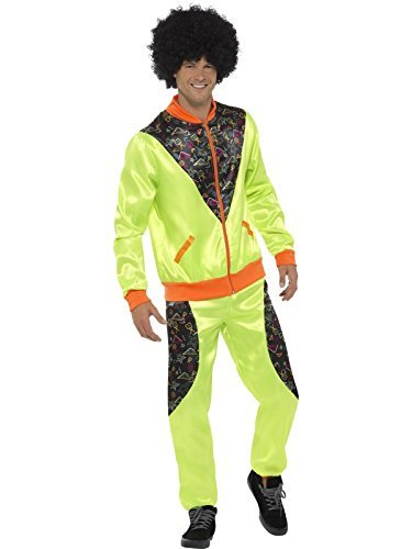 "Retro Shell Suit Costume, Mens, Neon Green, with Jacket & Trousers -  (Size: Chest 42""-44"", Leg Inseam 33"")"