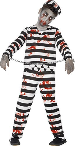 Zombie Convict Costume, Black, with Trousers, Top, Hat & Wrist Cuffs -  (Size: Tween 12+)