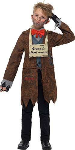 David Walliams Deluxe Mr Stink Costume, Brown, with Jacket, Mock Waistcoat, Shirt & Bow tie, Walking Stick, Glasses, Felt Sign, Fingerless Gloves & Soundchip -  (Size: Tween 12+)