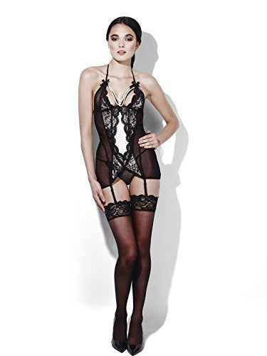 Fever Burlesque, Diamond, Black, Dress with Pearl Detail, Thong & Suspenders -  (Size: UK Dress 20-22)