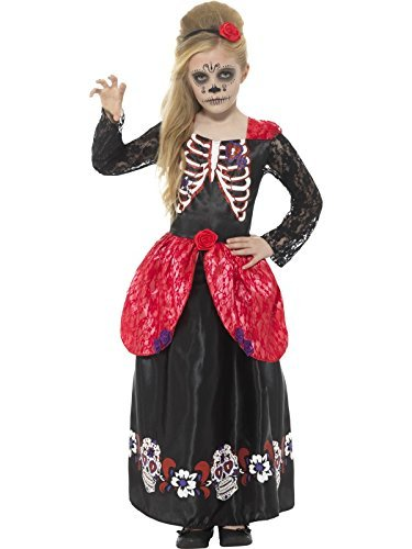 Deluxe Day of the Dead Girl Costume, Black, with Dress & Headband -  (Size: Large Age 10-12)