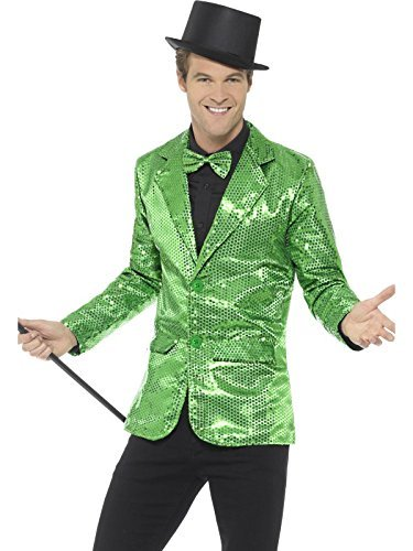 "Sequin Jacket, Mens, Green -  (Size: Chest 42""-44"", Leg Inseam 33"")"