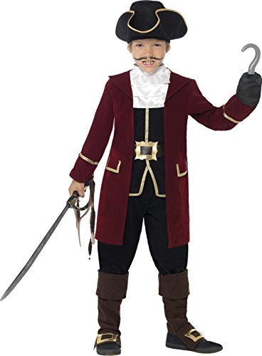 Deluxe Pirate Captain Costume, Black, Jacket, Mock Waistcoat, Trousers, Neck Scarf & Hat -  (Size: Medium Age 7-9)