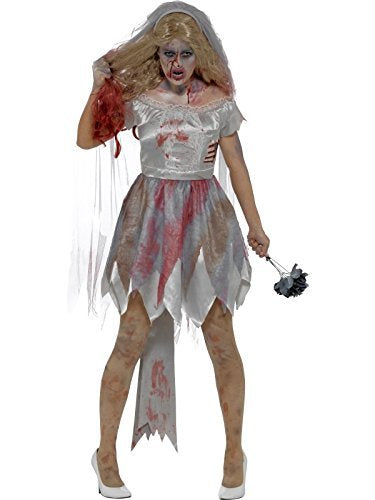 Deluxe Zombie Bride Costume, Grey, with Dress, Attached Latex Rib Wound, Veil & Bouquet -  (Size: UK Dress 8-10)