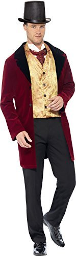 "Edwardian Gent Deluxe Costume, Red, with Jacket, Mock Waistcoat & Cravat -  (Size: Chest 38""-40"", Leg Inseam 32.75"")"