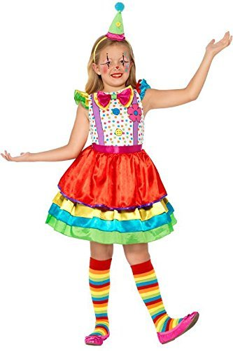 Deluxe Clown Girl Costume, with Dress & Hat -  (Size: Small Age 4-6)