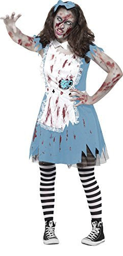 Zombie Tea Party Costume, Blue, with Dress, Latex Teacup & Headband -  (Size: Teen XS)